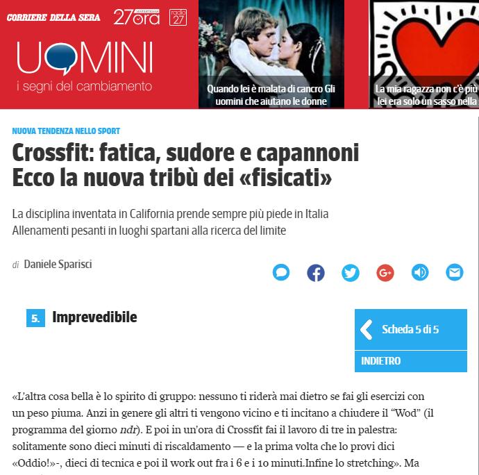 CrossFit a Milano secondo Corriere della Sera